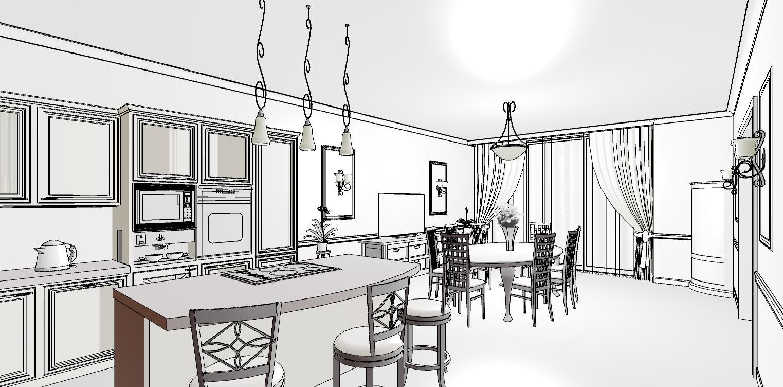 эскиз столовой в классическом стиле